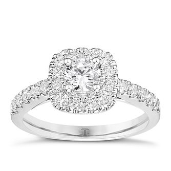 Tolkowsky Platinum 1ct Cushion Halo Diamond Ring - Product number 8414742