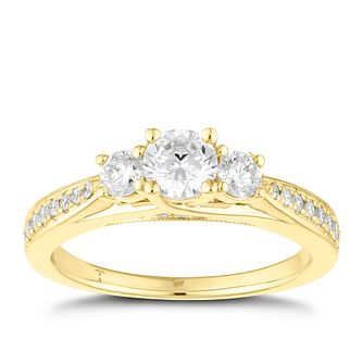 Tolkowsky 18ct Yellow Gold 0.75ct II1 3 Stone Diamond Ring - Product number 8415757