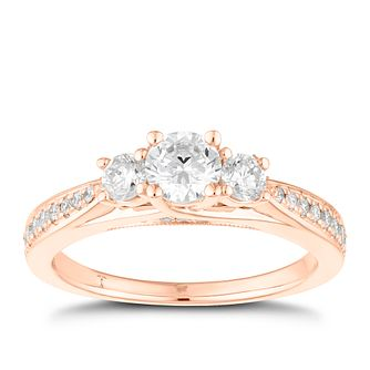 Tolkowsky 18ct Rose Gold 3/4ct II1 3 Stone Diamond Ring - Product number 8415897
