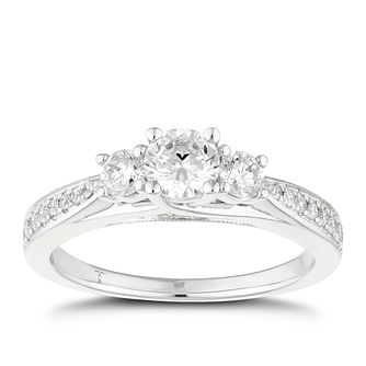 Tolkowsky Platinum 0.75ct II1 3 Stone Diamond Ring - Product number 8416036