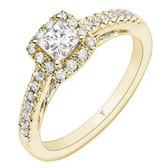 Tolkowsky 18ct Yellow Gold 0.66ct Princess Cut Diamond Ring - Product number 8416230