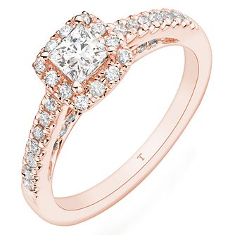 Tolkowsky 18ct Rose Gold 0.66ct Princess Cut Diamond Ring - Product number 8416419