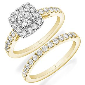 Tolkowsky 18ct Yellow Gold 1ct II1 Diamond Bridal Set - Product number 8418667