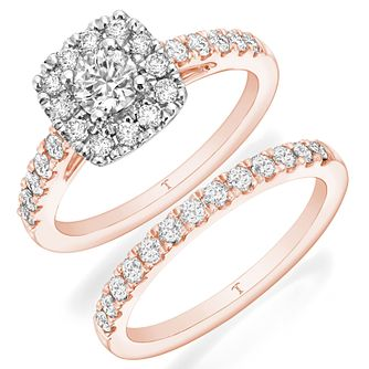 Tolkowsky 18ct Rose Gold 1ct II1 Diamond Bridal Set - Product number 8419043
