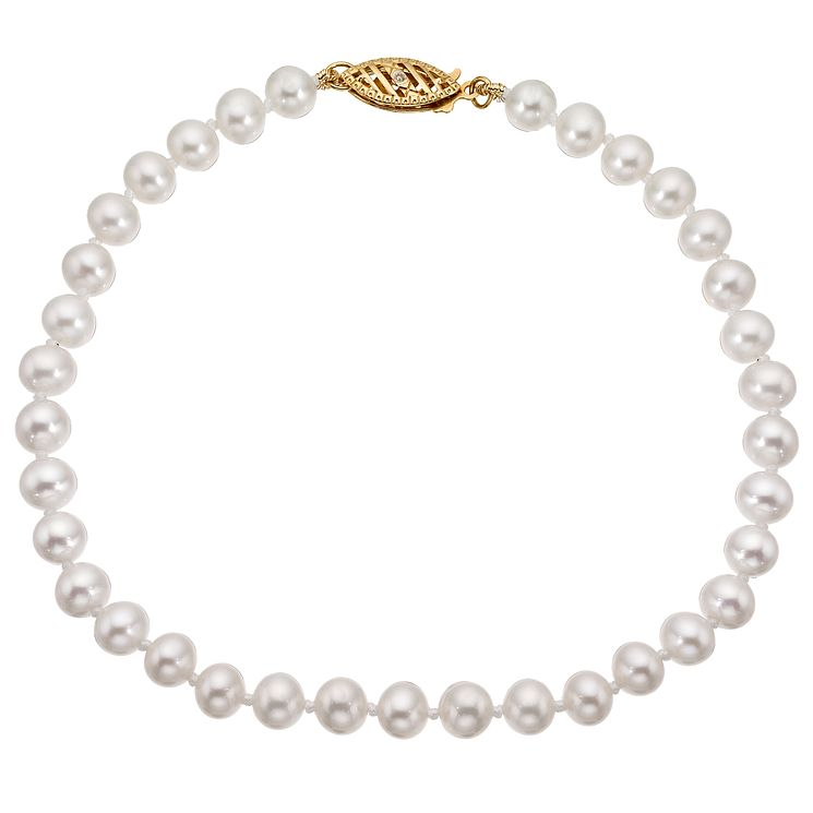 9ct Yellow Gold Cultured Freshwater Pearl Bracelet - Product number 8422117