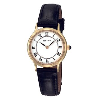 Seiko Ladies' White Dial Black Leather Strap Watch - Product number 8422214
