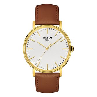 Tissot Everytime Medium Men's Yellow Gold Plated Strap Watch - Product number 8424799