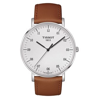 Tissot Everytime Men's Stainless Steel Brown Strap Watch - Product number 8424810