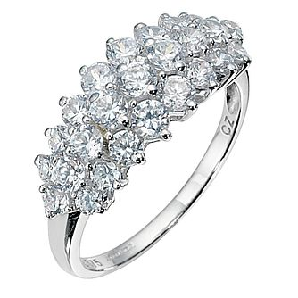 9ct White Gold Cubic Zirconia Cluster Ring - Product number 8428689