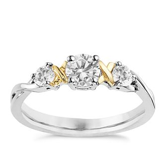 Silver & 9ct Yellow Gold Cubic Zirconia Trilogy Ring - Product number 8430020