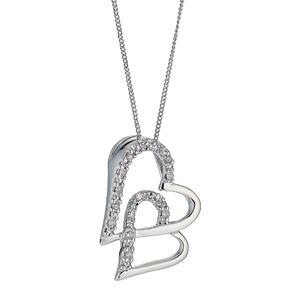9ct White Gold Diamond Set Double Heart Pendant - Product number 8445583