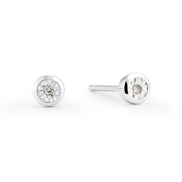 9ct White Gold Illusion Set Diamond Rub Over Stud Earrings - Product number 8445621