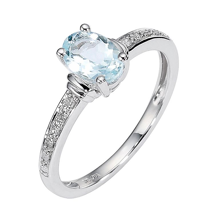9ct White Gold Aquamarine and Pave Set Diamond Ring - Product number 8446954