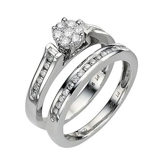 Platinum 1/2ct Diamond Perfect Fit Bridal Set - Product number 8453047