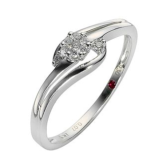 Cherished Silver Flower Shaped Diamond Cluster Ring - Product number 8456143