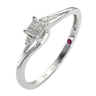 Cherished Argentium Silver Diamond Princess Cut Cluster Ring - Product number 8456275