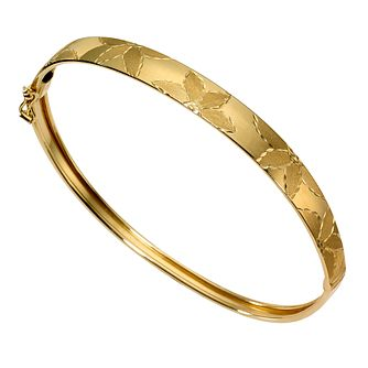 9ct Gold Matt and Polished Flower Pattern Hinged Bangle - Product number 8460280