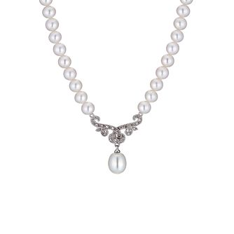 9ct white gold cultured freshwater pearl & diamond necklace - Product number 8467323