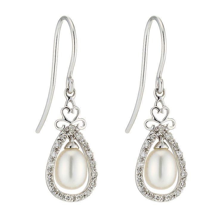 9ct white gold freshwater pearl & diamond vintage earrings ...