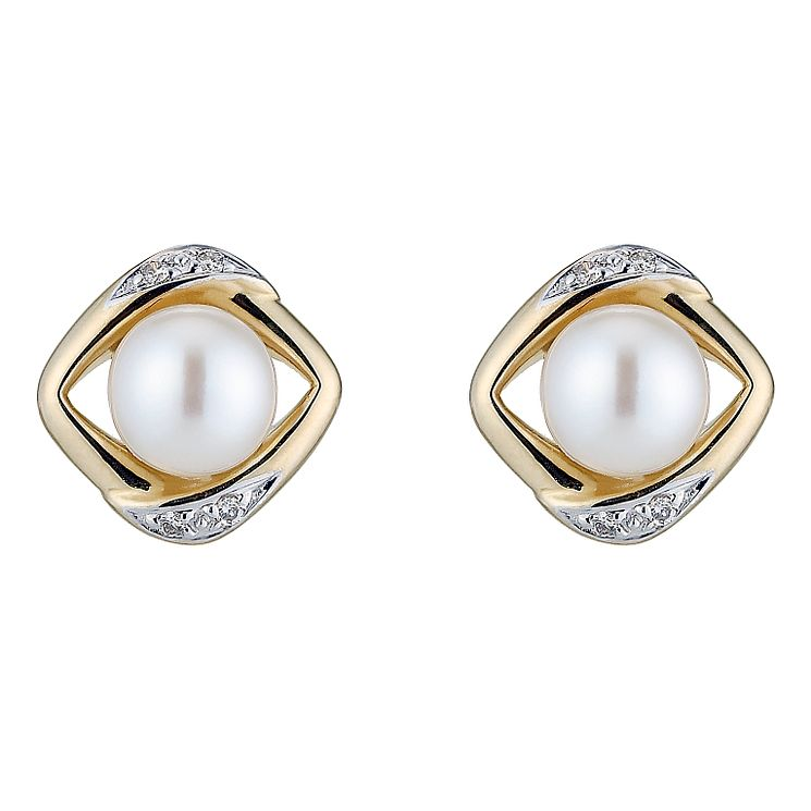 9ct gold cultured freshwater pearl & diamond square earrings - Product number 8467501