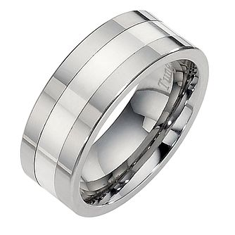Tungsten And Silver Centre Line Ring   Product Number 8477930