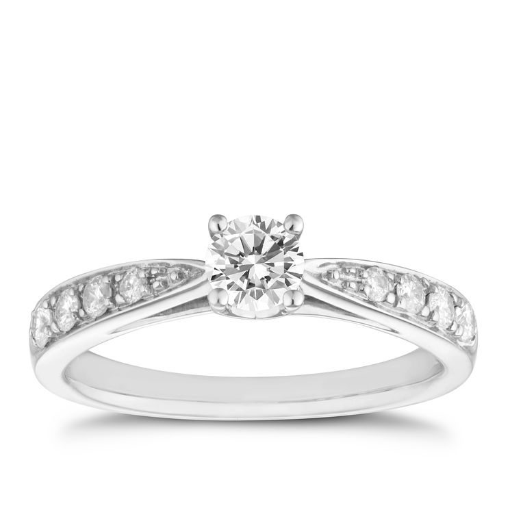 9ct white gold 0.50ct diamond solitaire ring - Product number 8483000