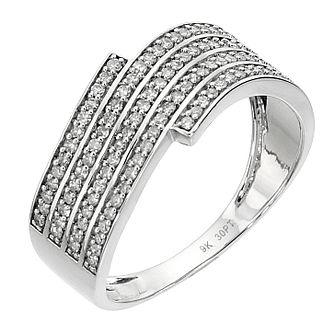 9ct white gold 0.30 carat diamond wave ring - Product number 8485321