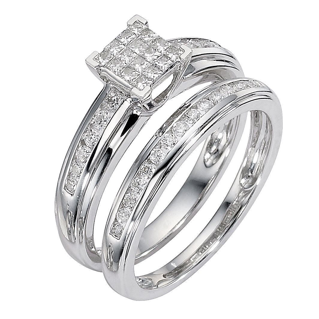 9ct White Gold 1/2ct Diamond Cluster Bridal Ring Set   Product Number  8487944