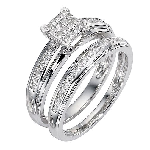 9ct white gold 0.50ct diamond cluster bridal ring set - Product number 8487944