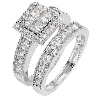 18ct white gold two carat diamond cluster bridal ring set - Product number 8488622