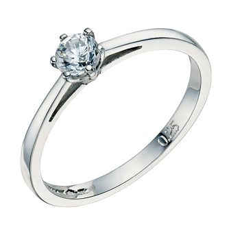 Platinum 0.25ct 6 claw diamond solitaire ring - Product number 8490627