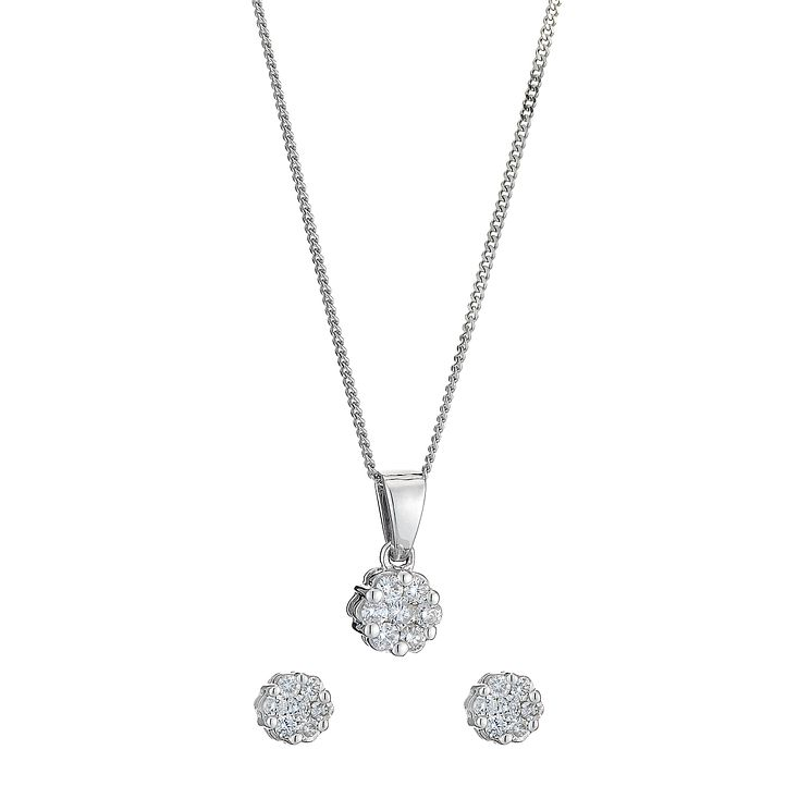 9ct white gold 0.33ct diamond earrings & pendant set - Product number 8496129