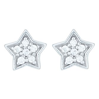 Sterling Silver Cubic Zirconia Set Star Stud Earrings - Product number 8558922