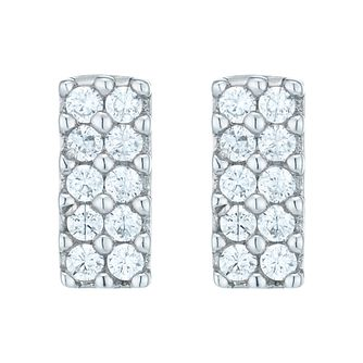 Sterling Silver Cubic Zirconia Set Bar Stud Earrings - Product number 8559333