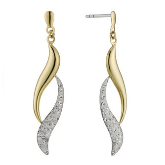 9ct Yellow Gold & Silver Crystal Drop Earrings - Product number 8561184