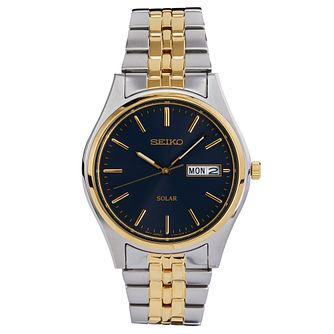 Seiko Men's Two Tone Black Dial Bracelet Watch - Product number 8584273