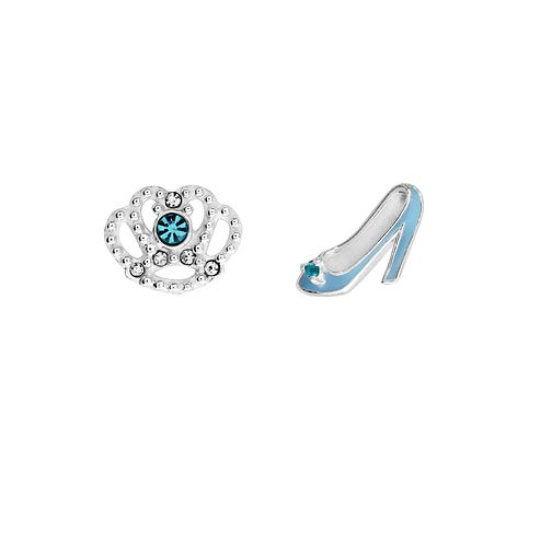Disney Children's Cinderella Silver Shoe & Crown Earrings - Product number 8590672