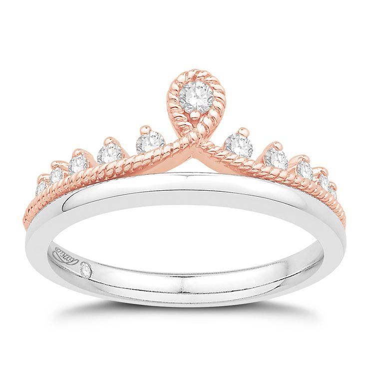 Emmy London Silver & 9ct Rose Gold 0 23ct Diamond Tiara Ring