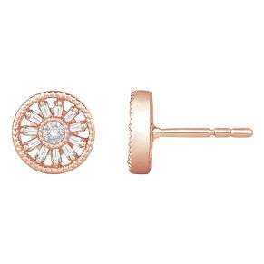 Emmy London 9ct Rose Gold & 0.15ct Diamond Round Earrings - Product number 8592659