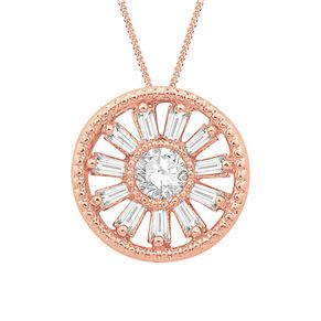 Emmy London 9ct Rose Gold & 0.15ct Diamond Round Pendant - Product number 8592675