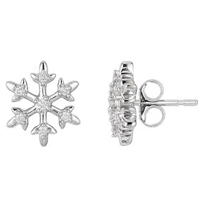 Enchanted Disney Fine Jewelry Silver & Diamond Elsa Earrings - Product number 8593159