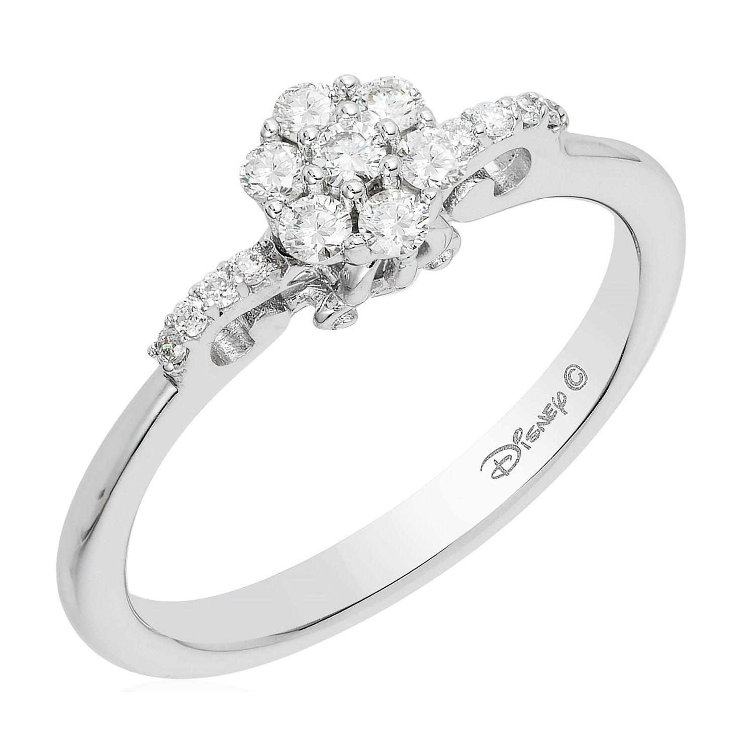 Enchanted Disney Silver 1 4 Carat Diamond Cinderella Ring
