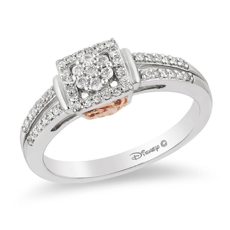 Enchanted Disney 9ct White Gold 1 4 Carat Diamond Belle Ring