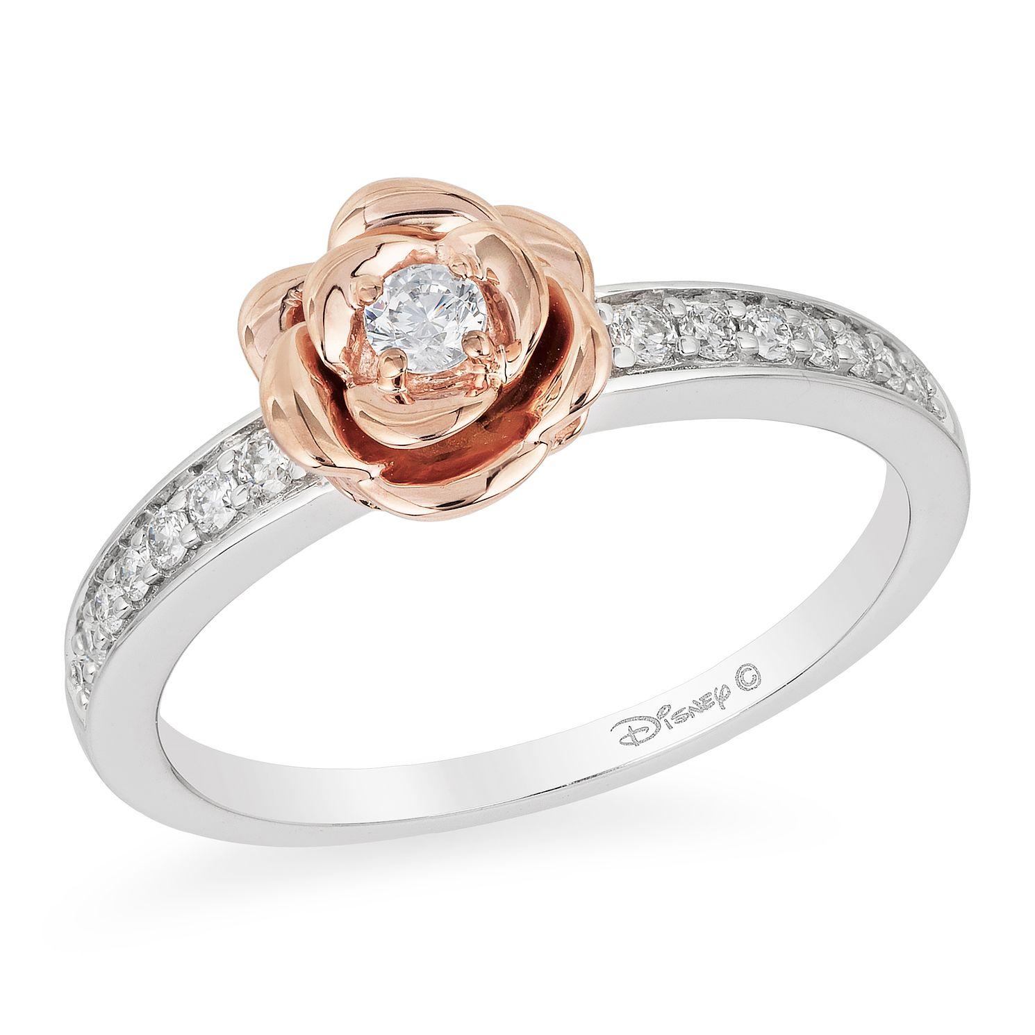 Enchanted Disney Silver 9ct Rose Gold Diamond Belle Ring