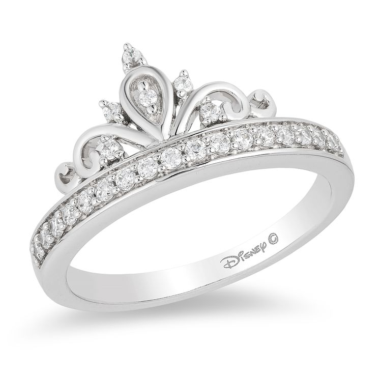 Enchanted Disney Silver 1/5 Carat Diamond Princess Ring - Product number 8593957