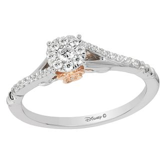 Enchanted Disney 9ct Gold 1/5 Carat Diamond Belle Ring - Product number 8594333