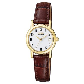 Citizen Ladies' Gold Plated Brown Leather Strap Watch. - Product number 8595135