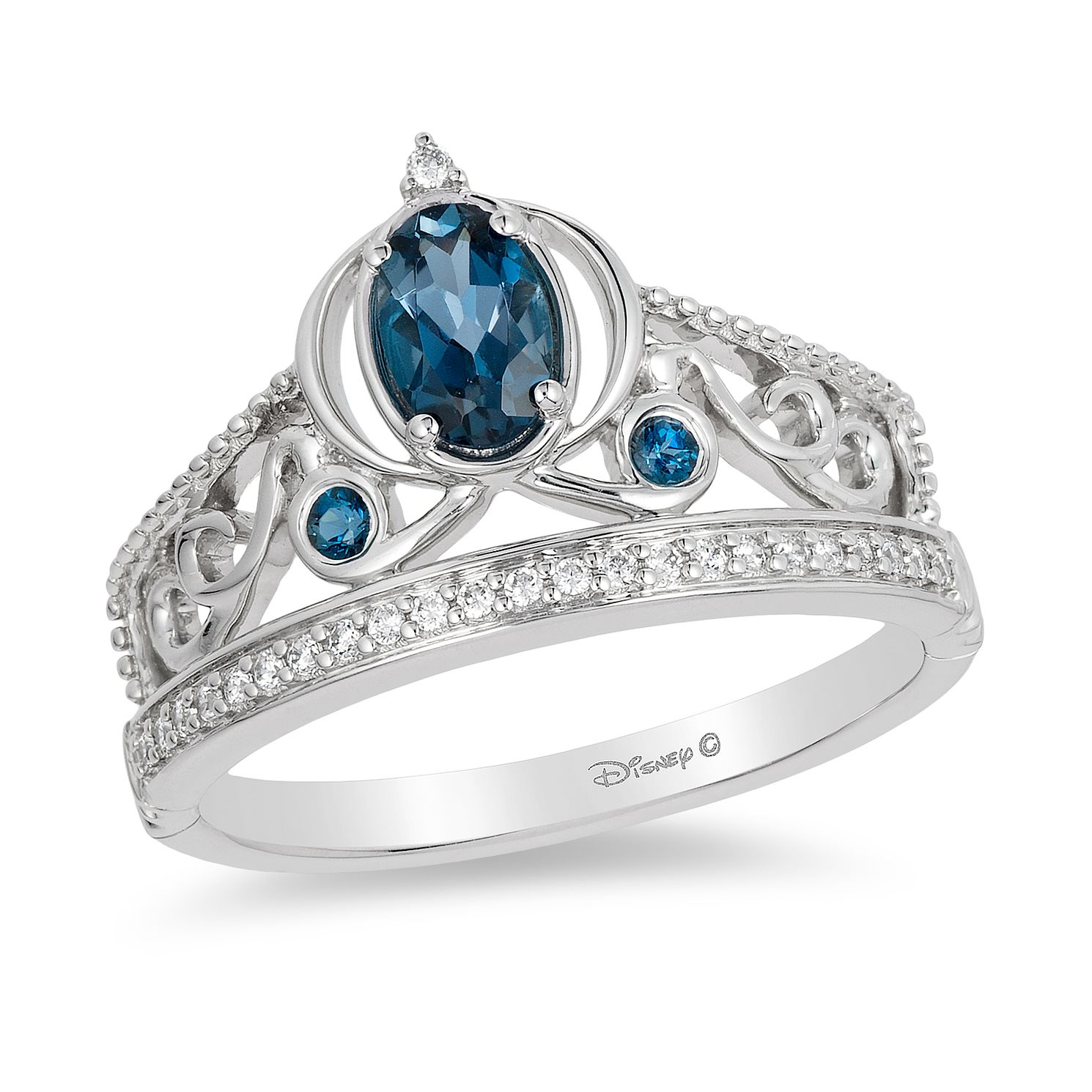 jewelry london engagement enchanted fine and ring disney topaz cinderella carriage rings diamond s blue