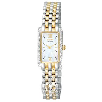 Citizen Ladies' Two Tone Stone Set Bracelet Watch - Product number 8595593