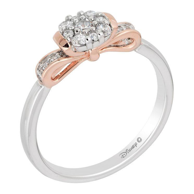 Enchanted Disney 9ct Gold 1 5 Carat Diamond Snow White Ring